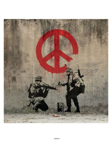 War and peace peace art for sale and new zealand art for Banksy mural painted over