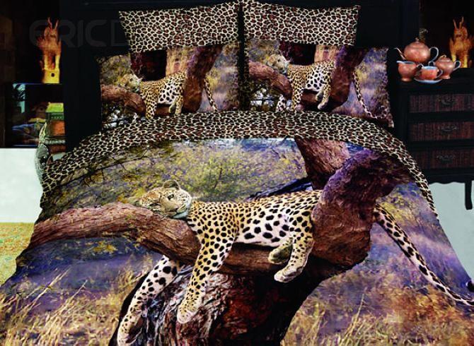 4 Piece Sleeping Leopard Print Bedding Full Queen Size Animal Print Bedding