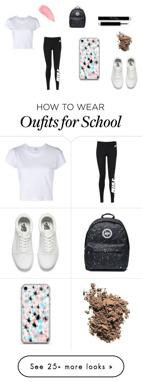 """Laurdiy inspired outfit"" by miniubb on Polyvore featuring RE/DONE, NIKE, Dolce&Gabbana, Kevyn Aucoin and Vans"