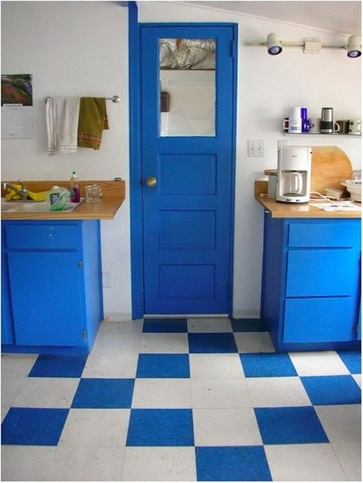 Create your own fun checkerboard-like design with Marmoleum tiles or click flooring.