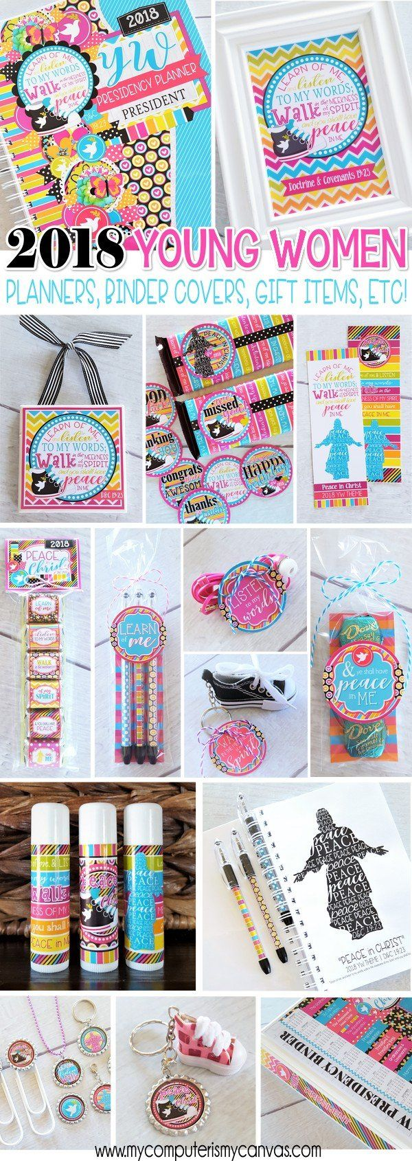 TONS of printables and gift ideas for the 2018 YW Theme PEACE IN CHRIST! Presidency Planners, binder covers, bookmarks, lip balm wrappers, candy bar wrappers, scripture art, journals, nugget wrappers and more! #mycomputerismycanvas #peaceinchrist
