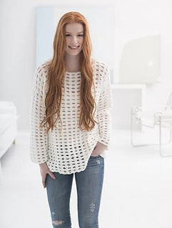 Easy Mesh Pullover - free crochet pattern by Teresa Chorzepa / Lion Brand Yarn (registration may be required). Sizes: S-3X. Worsted weight,  6mm hook.
