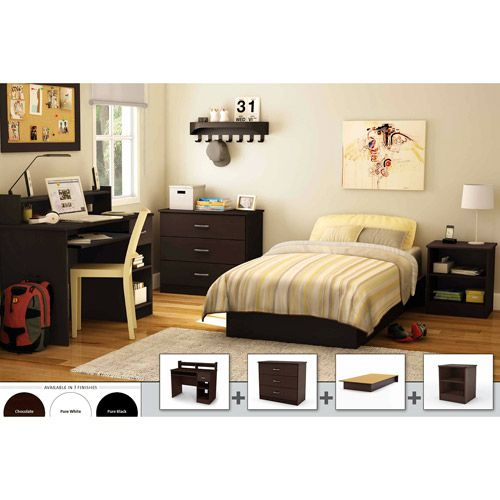 South Shore 4 Piece Bedroom Furniture Set Chocolate Furniture Walmart Com