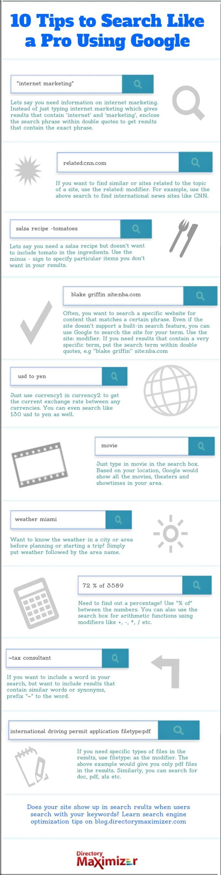 10 tips to search like a pro using Google #infografia #infographic #internet