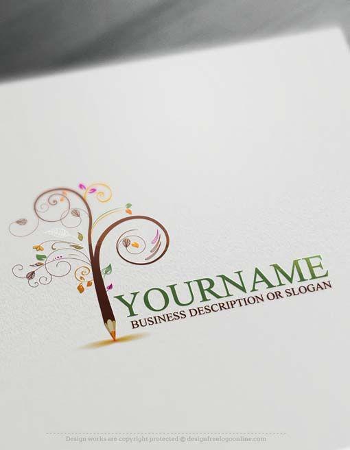 Create a Logo Free – Create Pencil Tree Logo Design