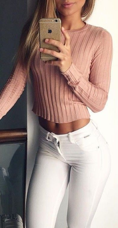 #summer #outfits / pink sweater'