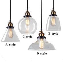 Luzes de Pingente De Vidro do vintage Loft Abajur Luminária de Suspensão Retro E27 Lâmpada Lamparas Colgantes Casa Industrial Dispositivo Elétrico de Iluminação