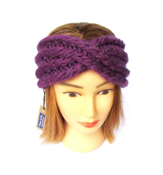 Twisted Headband Knit Pattern : Twisted headband - headband with a twist - purple knit headband - chunky knit...