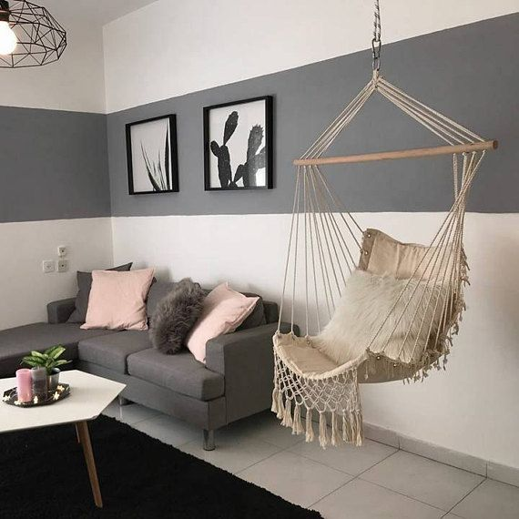 A Beautiful Macramé Swing Chair, Made Out Of 100% Cotton With Handmade  Tassels And Crochet. The Hammock Chair Is Perfect For Indoor Use And Adds  Style And A ...
