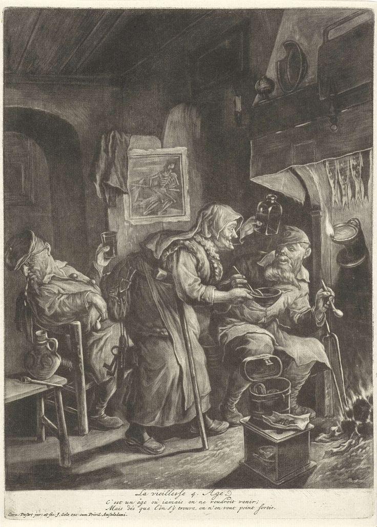 Cornelis Dusart | De ouderdom, Cornelis Dusart, Jacob Gole, stadsbestuur van Amsterdam, 1680 - 1704 | Twee oude mannen en een oude vrouw bij de haard. De mannen roken en drinken en de vrouw heeft een kom in de handen. Aan de muur hangt een prent met de personificatie van de dood. De prent is onderdeel van een reeks van vier prenten over de leeftijden van de mens.