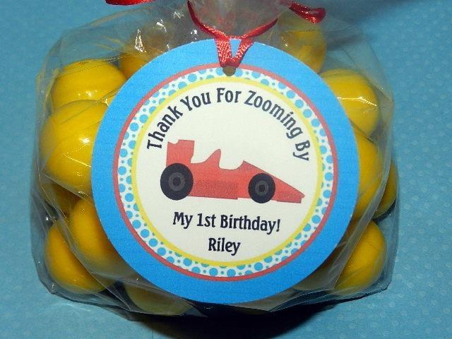 Race Car Birthday,Race Car Party, Car birthday Favor,Car Invitations,Banner,Toppers. $8.00, via Etsy.