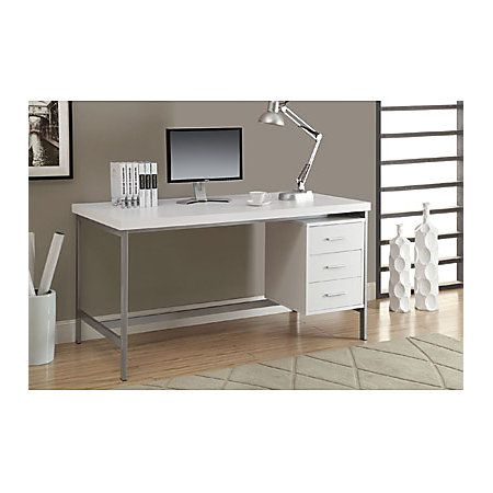 Monarch Specialties Metal Computer Desk With 3 Drawers, White/Silver, Standard Delivery