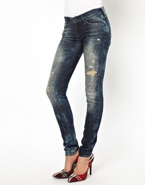 Denim & Supply By Ralph Lauren Bleached And Ripped Skinny Jeans