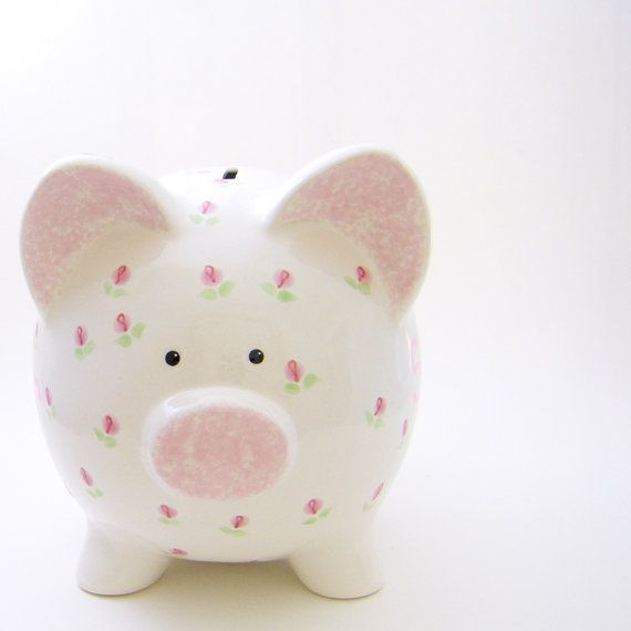 #Rosebuds Personalized #PiggyBank  by #ThePigPen, $42.50
