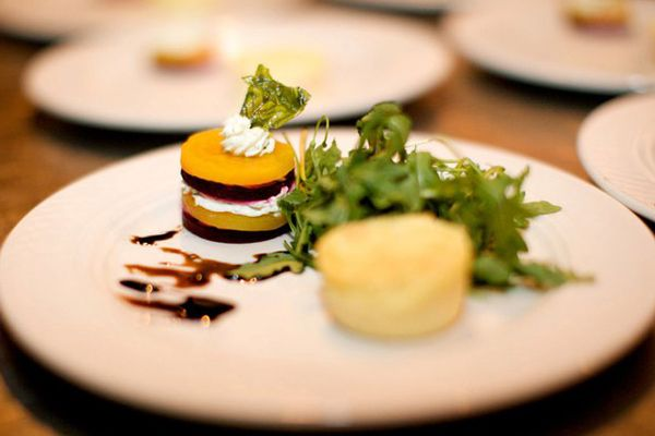 ... red and golden beet salad (stack) with goat cheese souffle and arugula