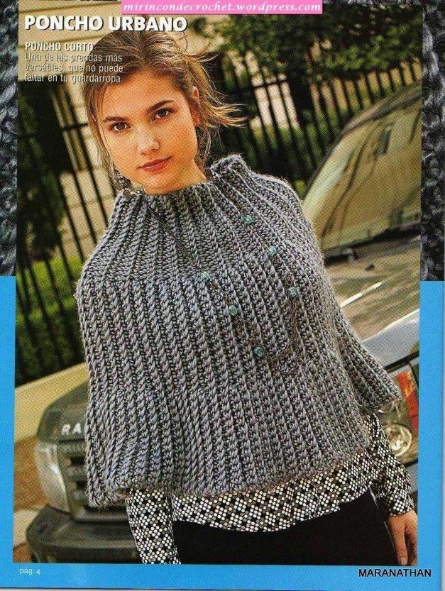 crochet poncho: Hook, Crochet Dos, Ponchoscapasen Crochet, Crochet Ponchos, Crochet Colcha, Crochet Capelet, Boleros Crochet, Crochet Patterns, Crochet Shawlponchoswrapshrug