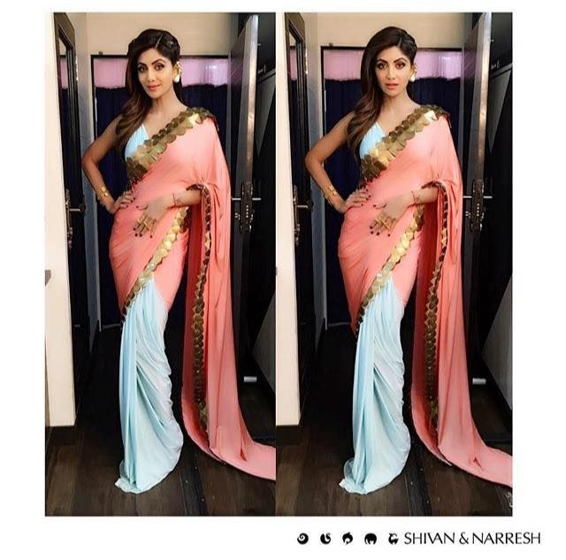 All set in the green room | The ever gorgeous Shilpa Shetty Kundra (@OfficialShilpaShetty) in #ShivanAndNarresh Coral & Powder #SkeinWork #Sari for Super Dancers | Styled by @SanjanaBatra | Whatsapp on +919810223618 for queries | #ShilpaShetty #Bollywood #SariStyle #CelebStyle #DestinationWeddings #IndiaModernFestive #Festive #HenrisAffaire #OOTD