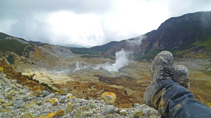 Lay down, Papandayan Volcano, West Java, Indonesia
