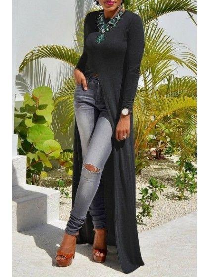 3c4e8a097 Women Long Sleeve Open Side Split Long Maxi Dress T Shirts Tops  Chic213322