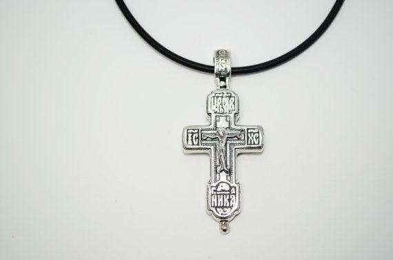 925. Sterling Silver Jesus Cross Holy Wood  Case Russian