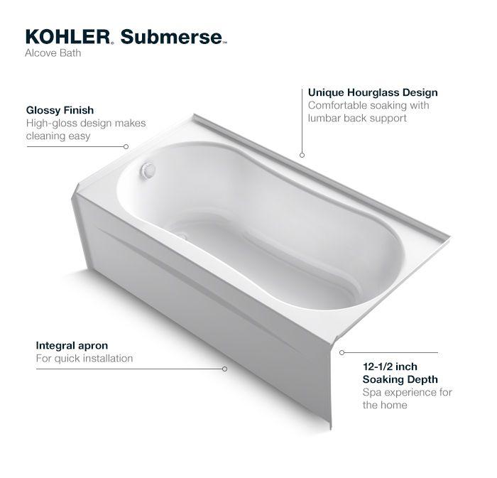 Kohler Submerse 5 Ft Left Drain Soaking Tub In White K