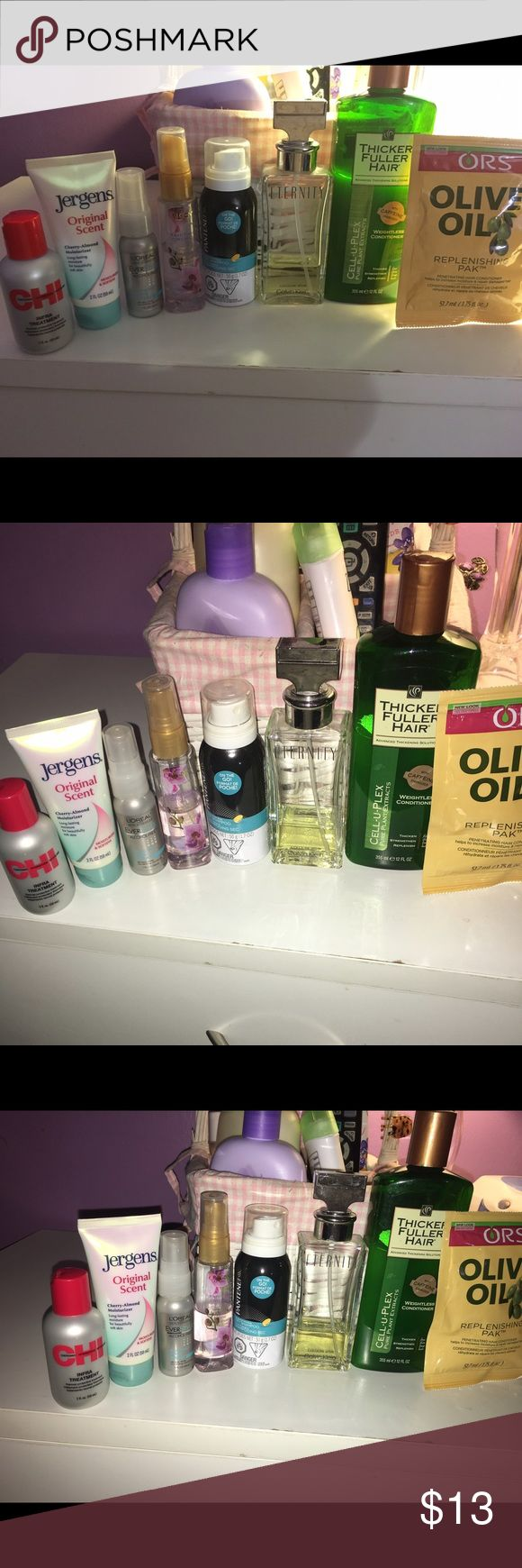 ‼️SALE‼️Hair and body accessories & Calvin Klein P All used, some are half way and some more of half. Calvin klein perfume for woman, hair thicker condition, jergen hand lotion, pantene dry shampoo, loreal hair serum, calgon body spray, olive oil conditioner (new)., chi treatment calvin klein, chi, loreal Accessories Hair Accessories
