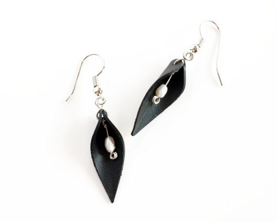 "Recycled rubber leaf earrings made from bike tire inner tube and freshwater pearls, handmade black and white ""pod"" dangle upcycled earrings"