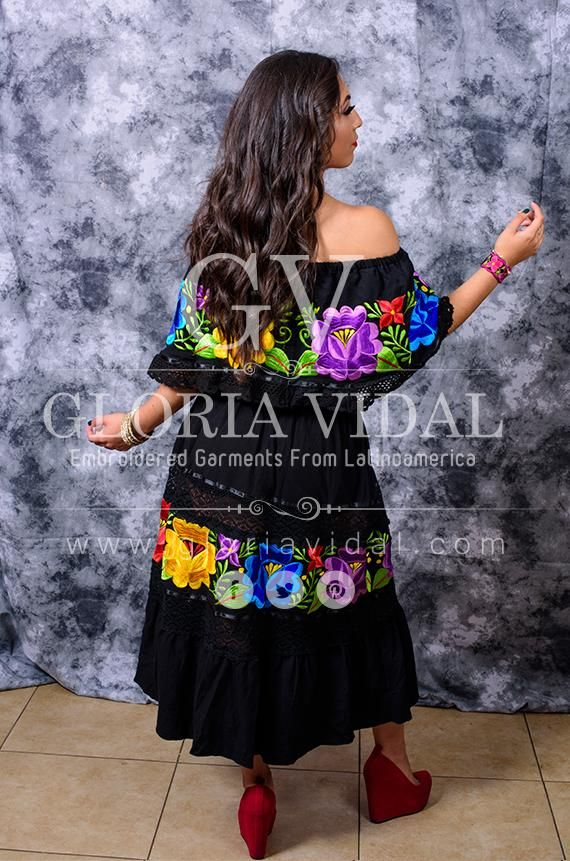 Multicolor Embroidered Off Shoulders Mexican Dress Black