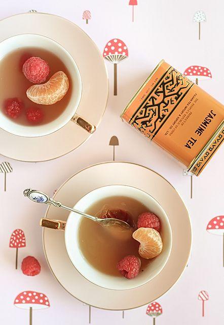 Mandarin & Jasmine Tea Cup Jellies with Raspberries. Mesmerizing photo of what sounds like an awful dessert. :): Cup Jellies, Teacup Jasmine, Fruity Sweets, Jasmine Tea, Asian Sweets, Green Tea, Teas, Raspberries Recipe, Tea Cups
