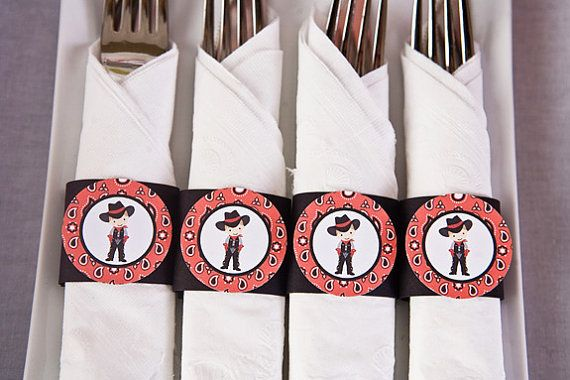 Cowboy Theme Napkin Rings  Cowboy Happy by getthepartystarted, $9.00