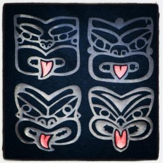4 Tiki tshirt design, black and red vinyl on black.