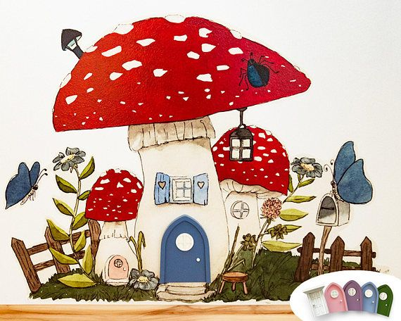 Wall Sticker Home in a Mushroom for Fairies and Gnomes for the Fairy Door - Product Dimensions: 90 x 70 cm - High-quality self-adhesive foil - Suitable for smooth surfaces and ingrain wallpaper, however, the stickers are not suitable for textured surfaces - Items Delivered: 1 wall sticker, 1 squeegee and an instruction manual The hand-drawn mushroom provides a perfect home for a gnome or fairy. Let them move in immediately by giving them one of our hand-crafted fairy door entrances! T...