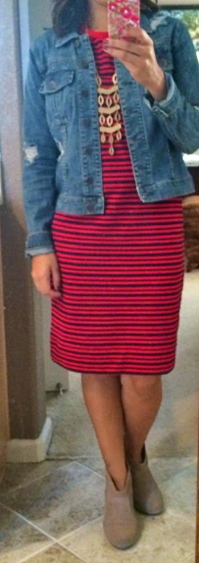 Great outfit for spring-- striped dress, denim jacket, ankle boots