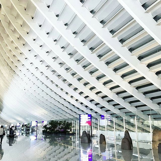 The Taoyuan International Airport received an award for The World's Best Airport Staff from SkyTrax in 2015. ✈✈✈ @Regrann from @rollylo -  back  #taiwan #backhome #airport #terminal1 #tpe #taoyuan #taoyuanairport #art #architecture #interiordesign #interior #design #whiteaddict #arrival #trip #travel #fly #Regrann