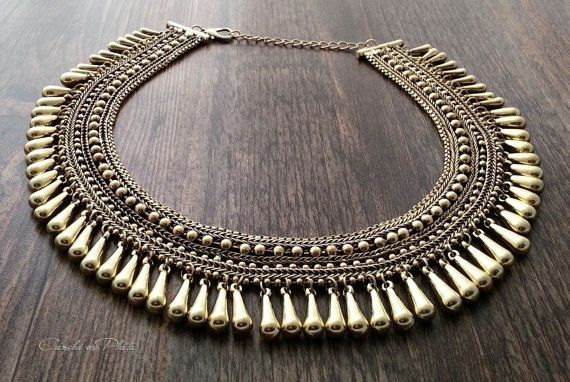 tribal necklace antique gold. Ethnic tribal by CaneladePlata