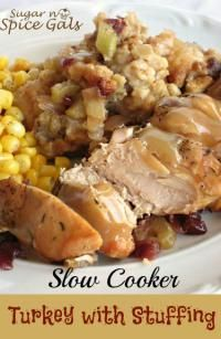 Slow Cooker Turkey with Stuffing on MyRecipeMagic.com  is so easy. Throw it in the crock pot and let it do all the work!