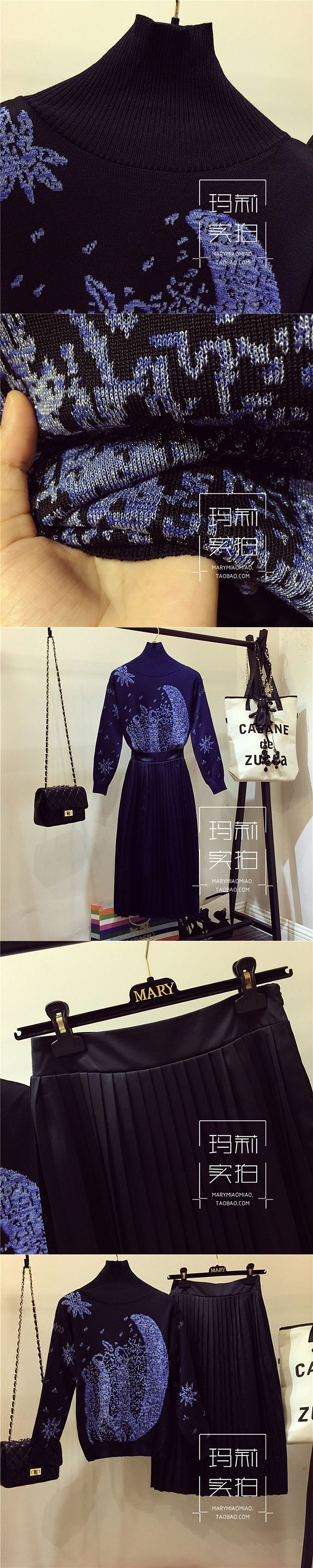 2017 Women Fashion Autumn Winter Clothing Set Lady Turtleneck Pullover Jacquard Stars Sweater + Slim Long Skirts Suit Vestidos