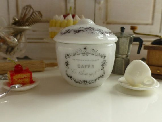 French Coffee Canister with  Lid for by Twelvetimesmoreteeny, €5.50