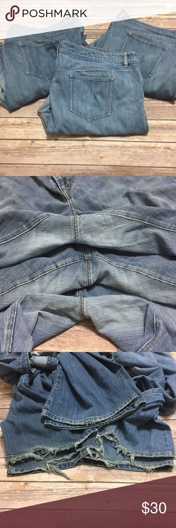 """3 pair lot Old Navy Plus Jeans This listing is for all 3 pair of jeans all size 26 plus long! 2 are low waist flare """"The Diva"""" cut. 1 is just below waist boot cut """"The Flirt"""". All three show signs of wear in the thighs near crotch and all three shows signs of wear at the leg openings (see pics). One of the divas has a tiny hole near the crotch (see pic). See pics for measurements. Won't sell separately. May not accept bundling this listing with others- depends on weight of items total. No…"""