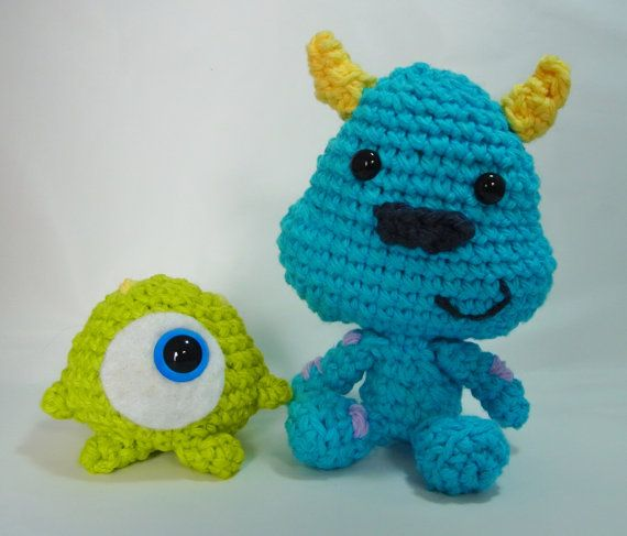 Amigurumi Baby Monsters : Disney Monsters Inc Inspired Baby Mike and Sulley ...