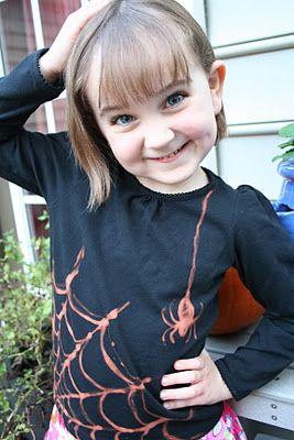 making kids' halloween shirt using old black shirt and bleach pen