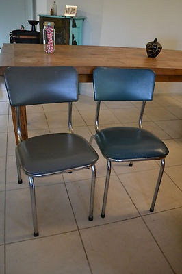 2 FunKy Retro Chrome & Vinyl Kitchen / Dining Chairs Gorgeous Green/Grey Shades  http://myworld.ebay.com.au/vintage-reborn
