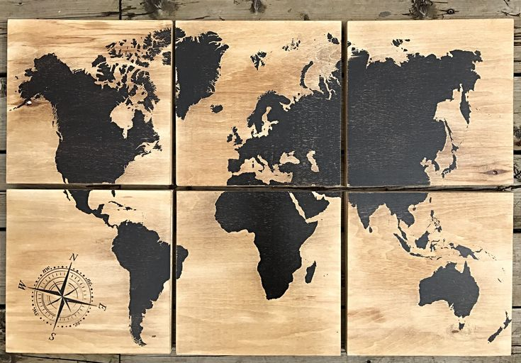 24x36 world map screen printed with black stain by CreationsSauvages on Etsy