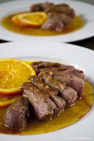 Eend met sinaasappelsaus - Recept in bron