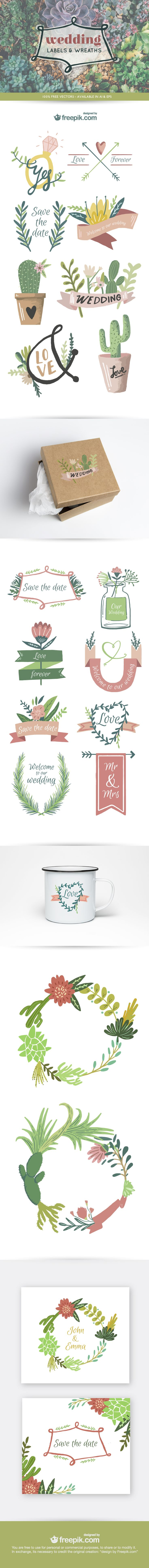 Download a FREE vector wedding graphics pack