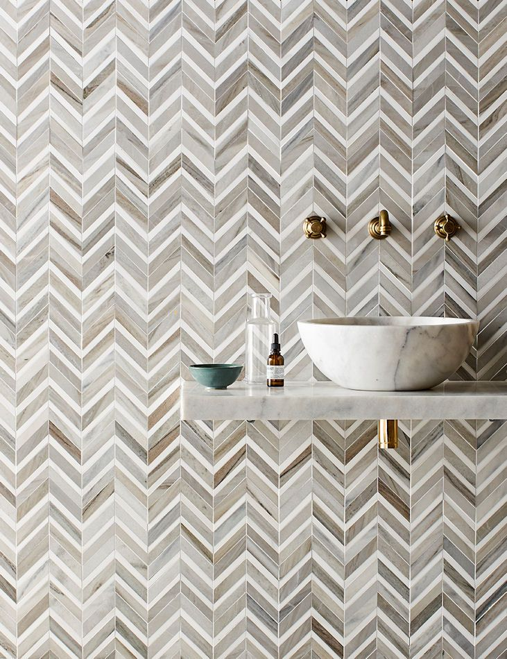 Pyrenees Honed Polished Marble Chevron Mosaics