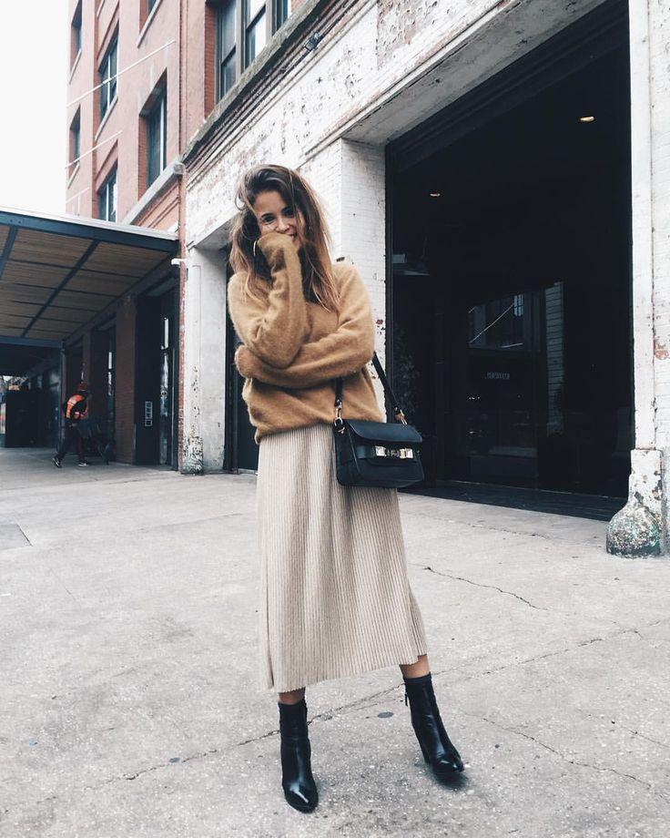 Camel sweater, pale gold midi skirt & black ankle boots | @styleminimalism