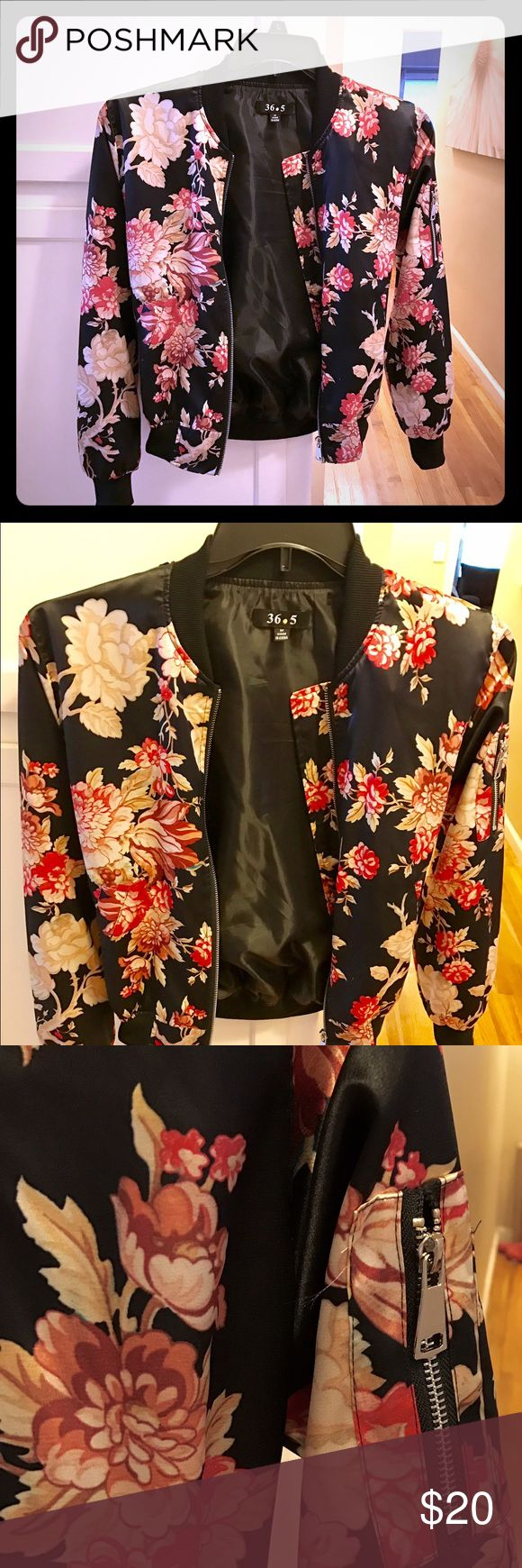 Satin like floral bomber jacket Very pretty lightweight gold, red and black bomber jacket.  Only worn once. 36.5 Jackets & Coats
