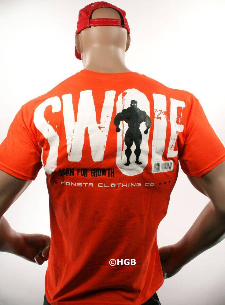 New mens tee shirt monsta bodybuilding wear swole orange t for La fitness t shirt
