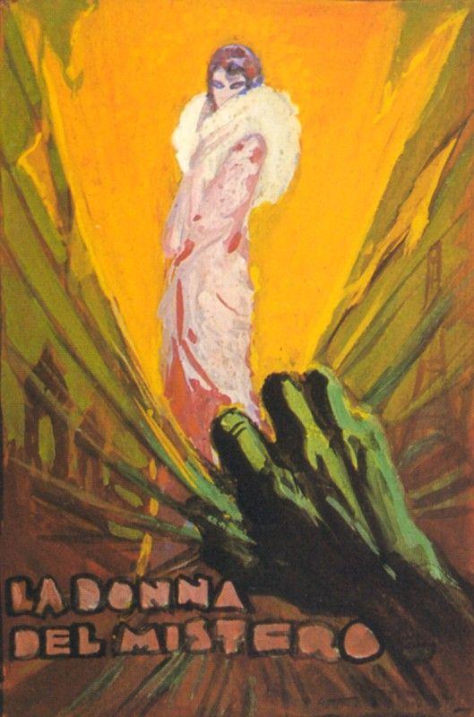 Tempera su cartoncino 13,5 x 9,3 cm. E' il bozzetto per il manifesto del film La Donna del Mistero [tit. orig. Mistery Woman (USA, 1934)], regia di Eugene Forde. Protagonista Mona Barrie. Anselmo Ballester